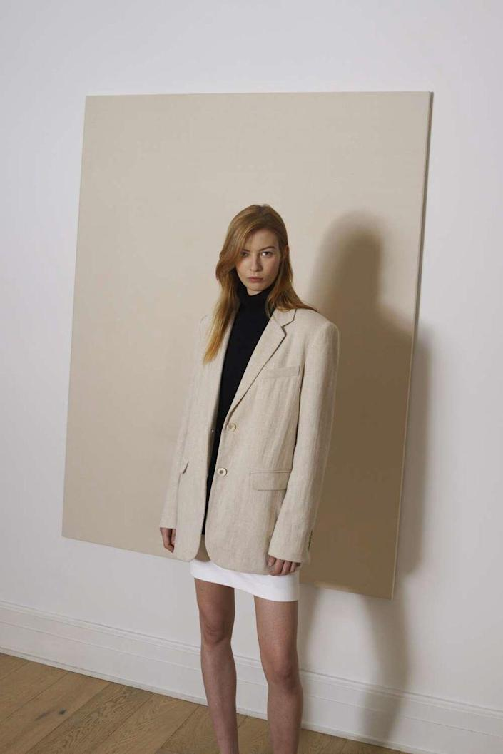 """<p>Rosetta Getty took a trip back in time to the golden age of minimalism for Pre-Fall, telling BAZAAR.com, """"Like many women, I have always found great freedom in riffing on the key style codes of the era. During the '90s, I embraced an unexpected, genre-defining medley of minimalist separates, offbeat vintage finds, custom sportswear and high-octane evening looks. Reflecting on this transformative decade became the starting point for my pre-fall<br>2021 collection.""""<br><br></p>"""