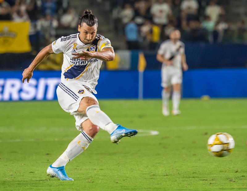 CARSON, CA -SEPTEMBER 15: Zlatan Ibrahimovic #9 of Los Angeles Galaxy lines up a shot during the Los Angeles Galaxy's MLS match against Sporting KC at the Dignity Health Sports Park on September 15, 2019 in Carson, California. Los Angeles Galaxy won the match 7-2 (Photo by Shaun Clark/Getty Images)