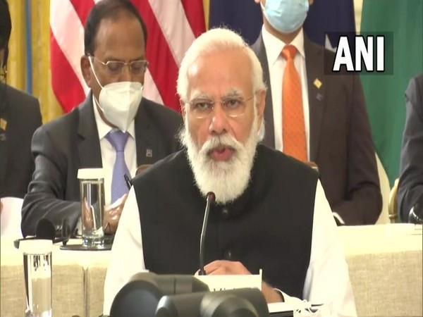 Prime Minister Narendra Modi speaking at the Quad leaders meeting in Washington on Friday.