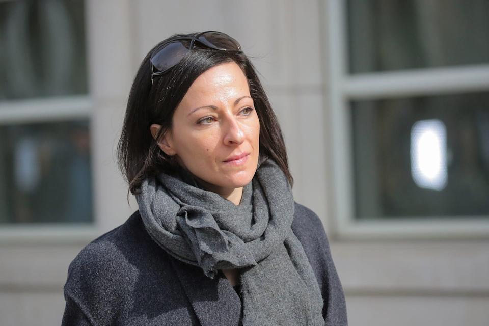 Lauren Salzman, a co defendant in the sex trafficking and racketeering Nxivm cult, departs the Brooklyn Federal Courthouse, following a hearing in New York..JPG