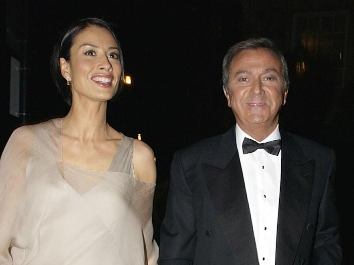 <p>Melanie Sykes and Des O'Connor in 2003</p>Getty