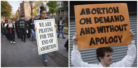 A combination photo of an anti-abortion protest march and a pro-abortion rights protester in Queens New York