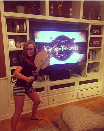 """<p><em>The Office</em> actress is clearly into the show. """"Dork. Of. Thrones,"""" she dubbed herself. (Photo: <a href=""""https://www.instagram.com/p/BYCr952BWb_/?taken-by=angelakinsey"""" rel=""""nofollow noopener"""" target=""""_blank"""" data-ylk=""""slk:Angela Kinsey via Instagram"""" class=""""link rapid-noclick-resp"""">Angela Kinsey via Instagram</a>)<br><br></p>"""