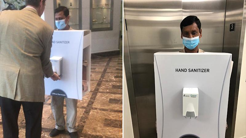 Images of a man dispensing hand sanitiser in the lobby of an oil company's building has sparked outrage. Source: Twitter/HishamFageeh