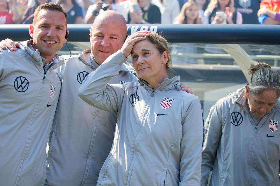 Jill Ellis was emotional while spending time with her assistant coaches before her final game as U.S. women's national team head coach. (USA Today Sports)