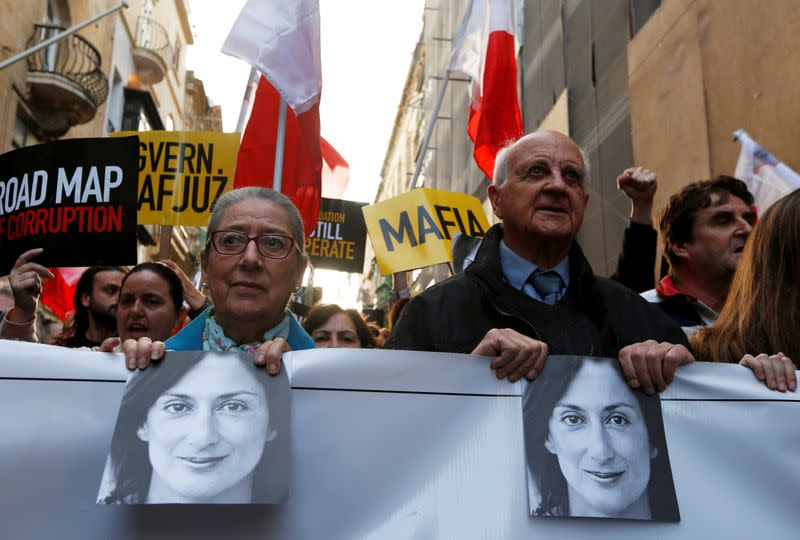 FILE PHOTO: National protest calling on Malta's PM Joseph Muscat to resign immediately and face prosecution, in light of revelations on the assassination of journalist Daphne Caruana Galizia