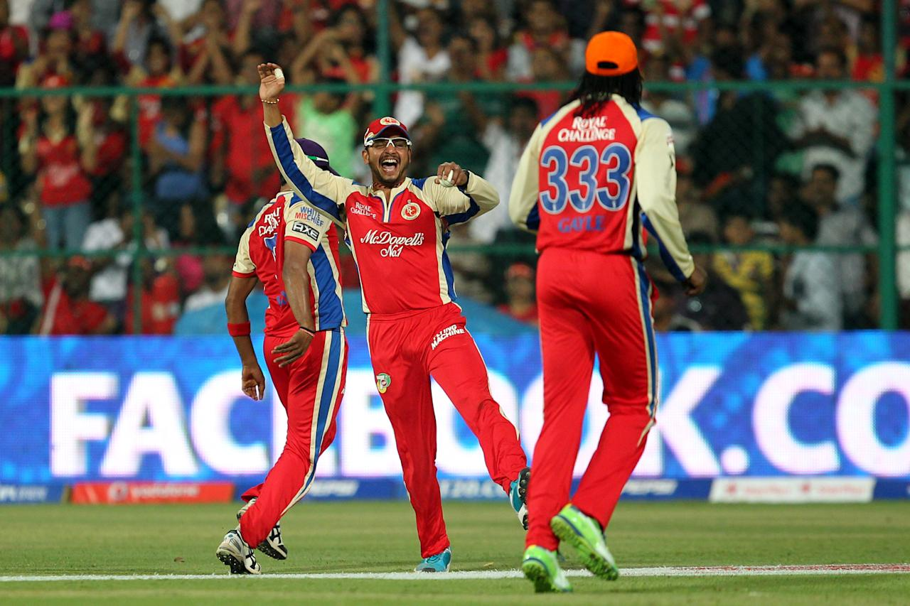 Murli Kartik celebrates wicket of Aron Finch during match 31 of the Pepsi Indian Premier League between The Royal Challengers Bangalore and The Pune Warriors India held at the M. Chinnaswamy Stadium, Bengaluru  on the 23rd April 2013Photo by Prashant Bhoot-IPL-SPORTZPICS  Use of this image is subject to the terms and conditions as outlined by the BCCI. These terms can be found by following this link:https://ec.yimg.com/ec?url=http%3a%2f%2fwww.sportzpics.co.za%2fimage%2fI0000SoRagM2cIEc&t=1498319958&sig=UKZeLElgFlcJB1Bp4BATrg--~C