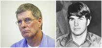 """FILE - This combination of file photos shows former Charles Manson follower Charles """"Tex"""" Watson, left, appearing during is parole hearing at Mule Creek State Prison in Lone, Calif., in Nov. 16, 2011, and Watson in a courtroom at an extradition hearing in McKinney, Texas, on Feb. 16, 1970. Watson led the Manson Family killers to the Tate estate, shot to death Steven Parent as he was attempting to leave and took part in the killings that night and the next at the LaBianca home. He became a born-again Christian in prison and formed a prison ministry in 1980 that he continues to lead. Watson, now 73, has repeatedly been denied parole. (AP Photo/Files)"""