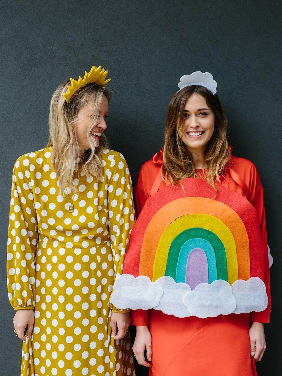 """<p>You and your bestie will love dressing up in this fun sunshine and rainbow costume. </p><p><strong>G</strong><strong>et the tutorial at <a href=""""https://theeffortlesschic.com/rainbow-costume-diy-sun-custume/"""" rel=""""nofollow noopener"""" target=""""_blank"""" data-ylk=""""slk:The Effortless Chic"""" class=""""link rapid-noclick-resp"""">The Effortless Chic</a>.</strong></p>"""