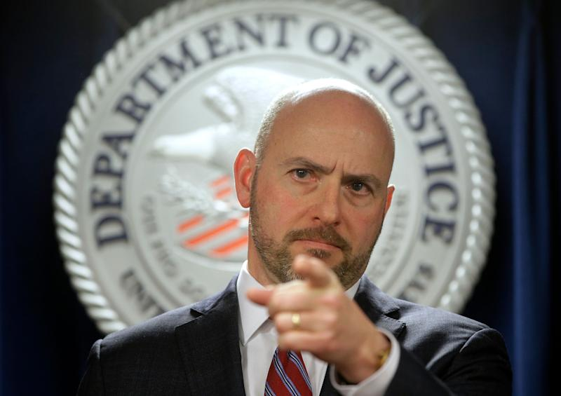 FILE - In this March 12, 2019 file photo, Andrew Lelling, U.S. Attorney for the District of Massachusetts, speaks during a news conference in Boston. On Thursday, April 25 Lelling announced charges against Newton, Mass., District Court Judge Shelley M. Richmond Joseph and a former court officer on obstruction of justice for allegedly helping a man in the country illegally evade immigration officials as he left the courthouse after a hearing. (AP Photo/Steven Senne, File)