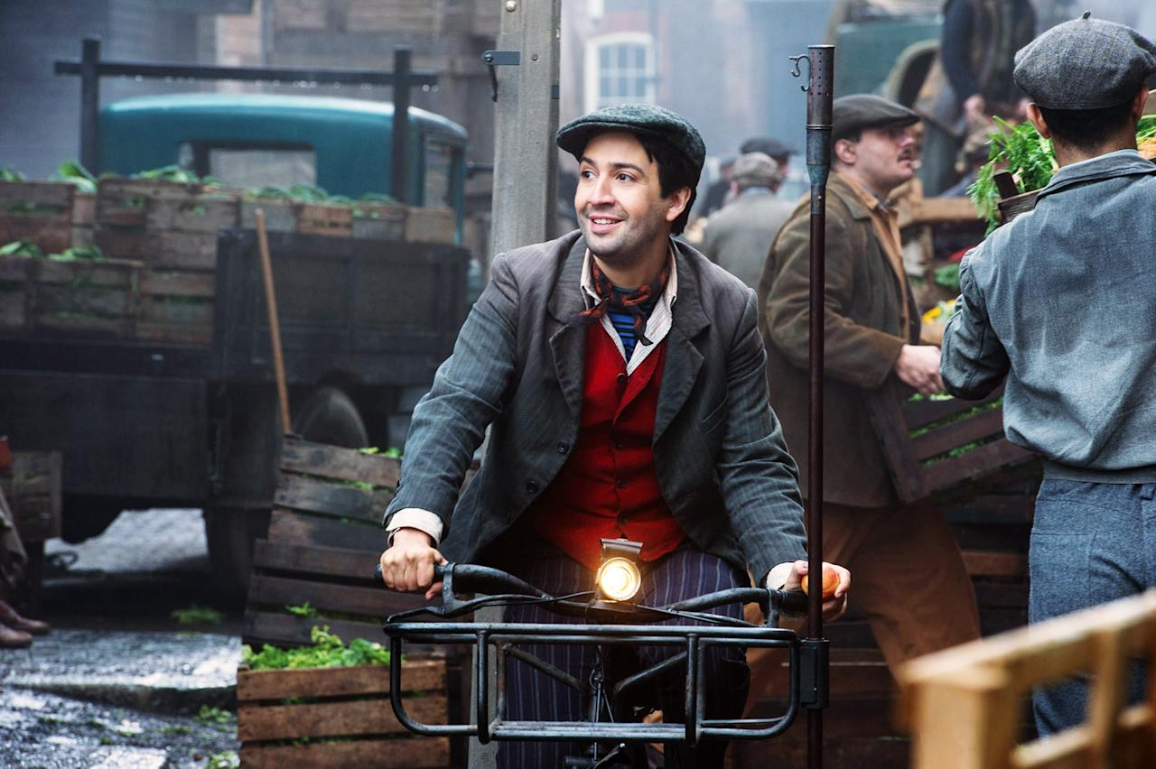 """<p>In the Disney sequel, <a href=""""https://www.popsugar.com/entertainment/Lin-Manuel-Miranda-Mary-Poppins-Returns-Interview-45600304"""" class=""""ga-track"""" data-ga-category=""""Related"""" data-ga-label=""""http://www.popsugar.com/celebrity/Lin-Manuel-Miranda-Mary-Poppins-Returns-Interview-45600304"""" data-ga-action=""""In-Line Links"""">Miranda played Jack</a>, a London lamplighter and handyman who knows all about Mary Poppins. He joins the Banks family and Mary Poppins in their adventures and gets to show off his song-and-dance skills in several of the movie's splash musical numbers.</p>"""