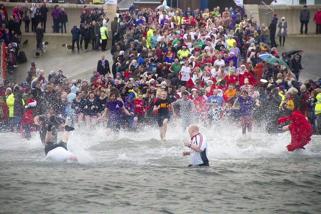 <p>There's no better way to blow the Christmas cobwebs away than by having a bracing sea swim. There are a number of such Boxing Day dips around the country, including in Tenby (where participants wear fancy dress), Crummock Water in the Lake District, Brighton and Seaburn Beach, a mile north of Sunderland. Dive in! <em>[Photo: Flickr/Dave Cocks]</em> </p>