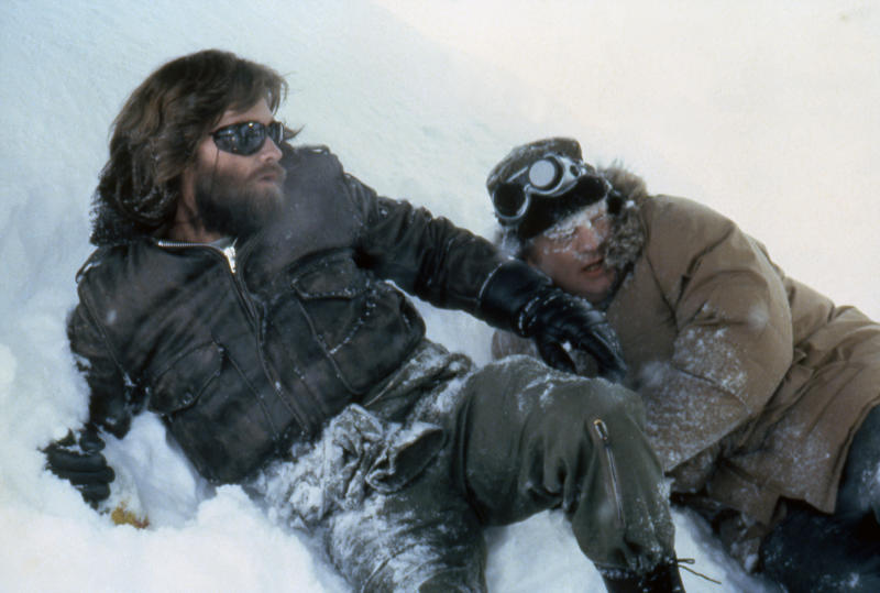 "Kurt Russell and Charles Hallahan on the set of ""The Thing"". (Photo by Sunset Boulevard/Corbis via Getty Images)"