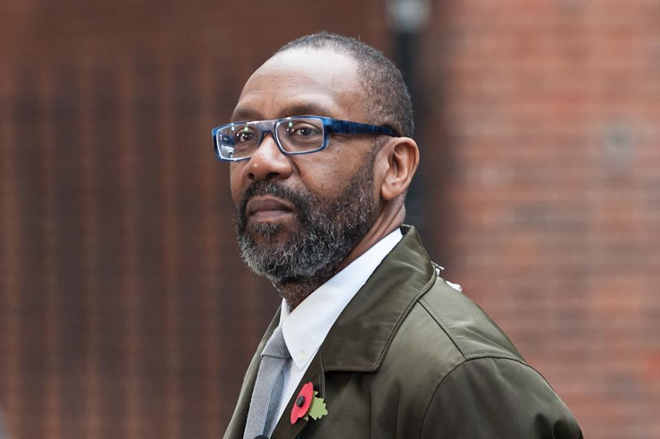 LONDON, UNITED KINGDOM - NOVEMBER 06: Sir Lenny Henry arrives at Downing Street in central London as representatives of film and television industry deliver a letter to No.10 calling for tax breaks to increase the representation of women, BAME and disabled people working behind the camera. November 06, 2018 in London, England. (Photo credit should read Wiktor Szymanowicz / Barcroft Media via Getty Images)