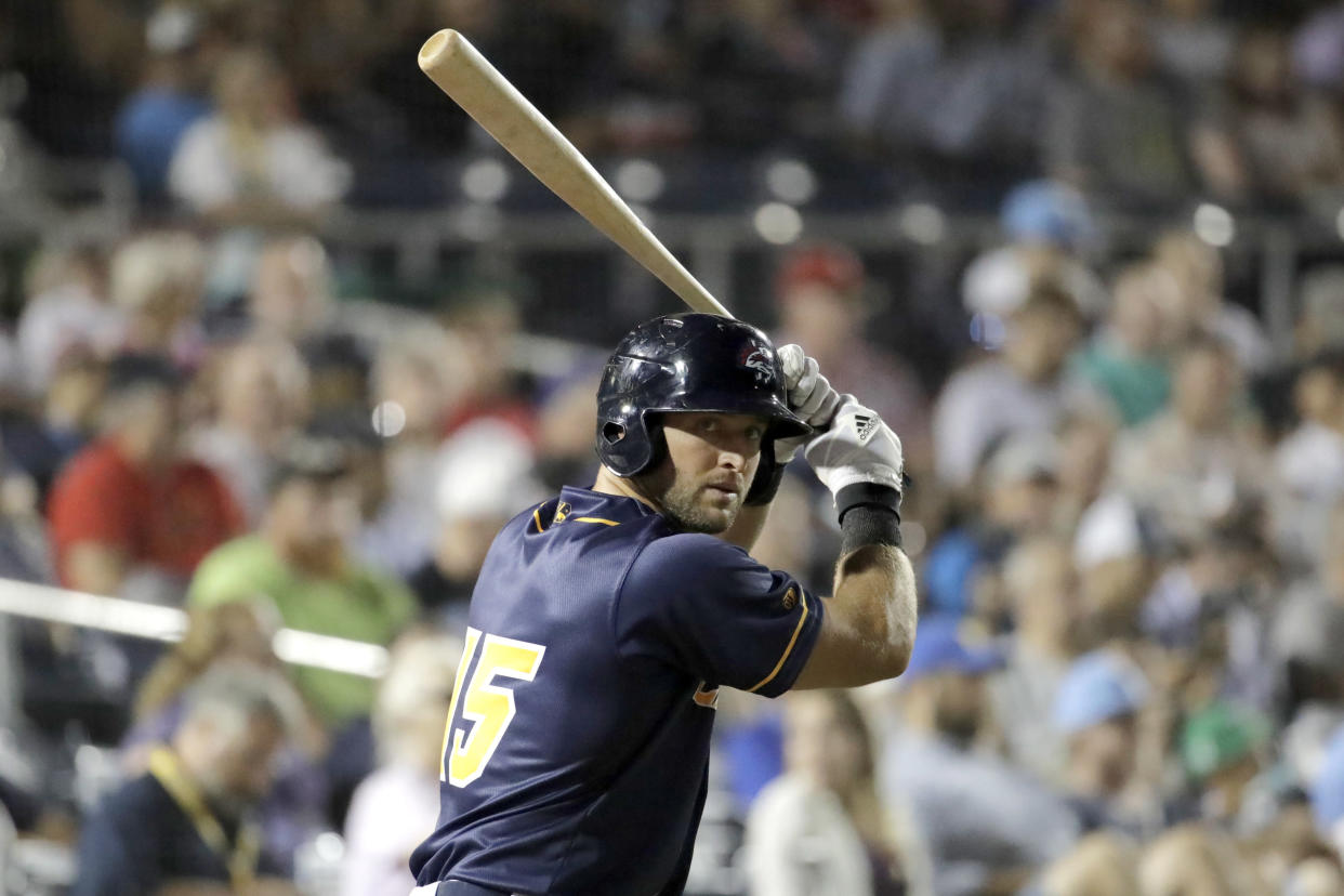 Tim Tebow could work his way to the majors in 2019. (AP Photo/Julio Cortez)