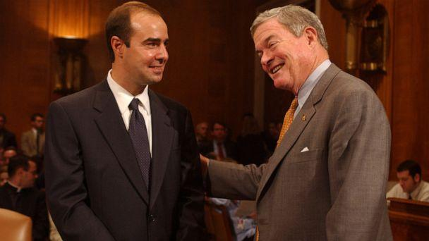 PHOTO: Eugene Scalia, left, nominee for Solicitor of Labor, gets encouragement from Sen. Kit Bond, before a conformation hearing, Oct. 2, 2001, in Washington, DC. (Tom Williams/CQ-Roll Call,Inc./Getty Images, FILE)