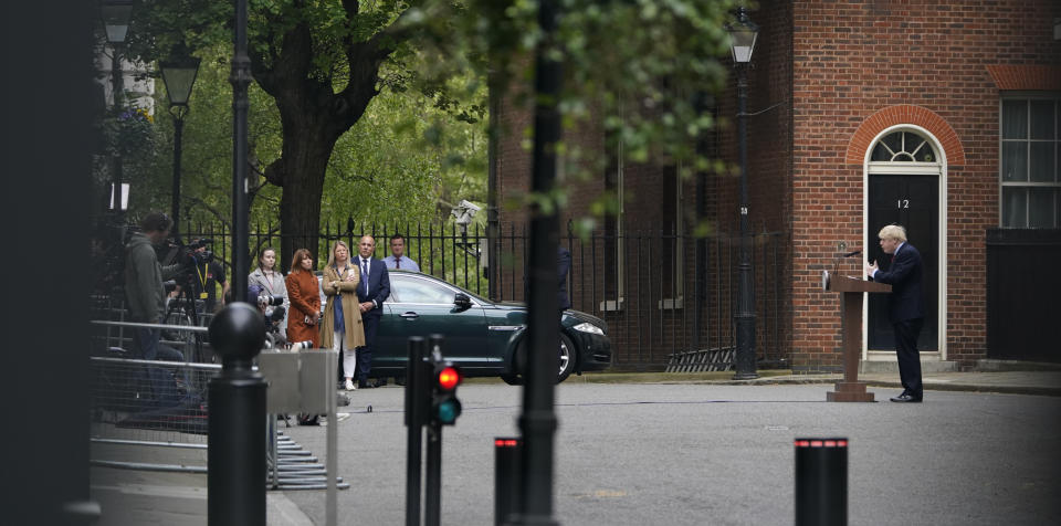 Prime Minister Boris Johnson speaking in Downing Street, London, as he resumes working from his office after spending two weeks recovering from Covid-19.