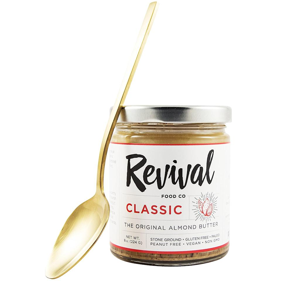 """<p>""""I have almond butter almost every morning for breakfast, and this <span>Revival Food Co. Classic Almond Butter</span> ($11) was tasty whether I slathered it on my breakfast banana or scooped it right out of the jar. It's a unique blend of salty and sweet (with zero grams of added sugar) that's a welcome change from my normal plain flavors. It has a nice crunch, too!"""" - MR</p>"""