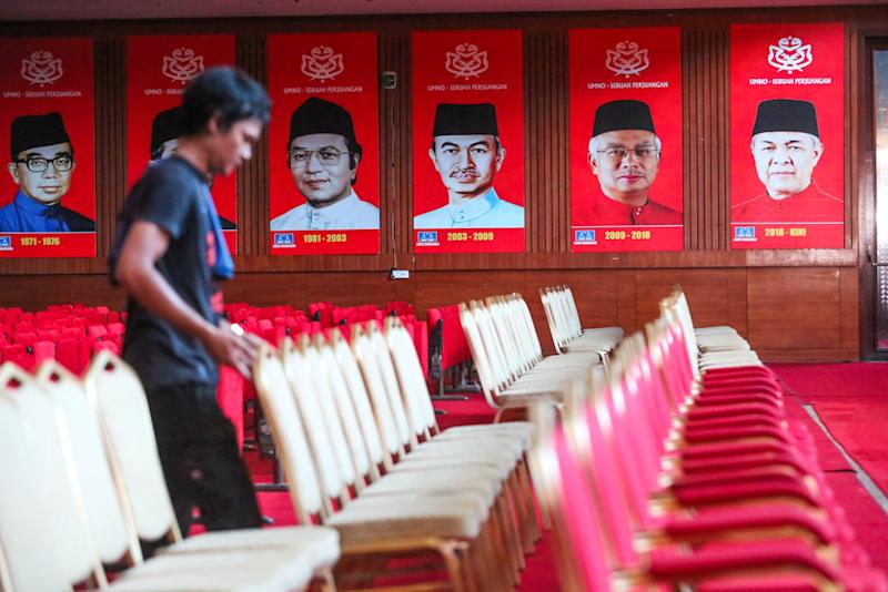 Preparations in full swing for the 2019 Umno general assembly at Putra World Trade Centre in Kuala Lumpur December 3, 2019. — Picture by Choo Choy May