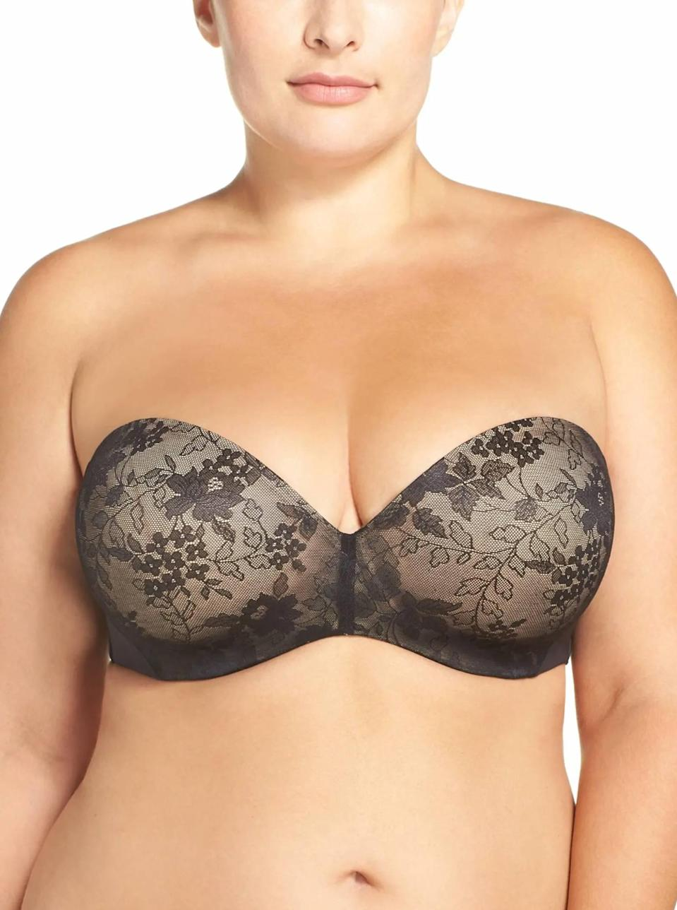 "<p><strong>Key selling points:</strong> Strapless bras can be hard to find, especially in plus size. This one features seamless and secure foam-padded cups in intricate lace, along with optional straps in case you want even more support.</p> <p><strong>What customers say:</strong> ""I've been looking for a strapless bra that works for years. FOUND IT!!!!! This bra is comfortable and holds my girls (42DDD) in place without fear of falling out. I'll finally be able to wear my strapless tops and dresses again. Love it!"" — <em>MissVHS, reviewer on</em> <a href=""https://cna.st/affiliate-link/8GHpbfKbHzjMYq35aMwp743ec7GFgbeJYpPz99aay2zVYcK5bvCicGU7C2Ld3ysaBCbsr7AMnu1y6bikC8V9RUxm6RCQK8TrvfW2UWruzoVXyTHvgFB64egm6xRpecrqBvdzbGbb637nuQiXP8cqpVYLMPvwTrvGL6Q8?cid=606b52e05ffe9b4fe6a6801d"" rel=""nofollow noopener"" target=""_blank"" data-ylk=""slk:Nordstrom"" class=""link rapid-noclick-resp""><em>Nordstrom</em></a></p> $65, Nordstrom. <a href=""https://www.nordstrom.com/s/curvy-couture-strapless-underwire-push-up-bra-plus-size/5921599"" rel=""nofollow noopener"" target=""_blank"" data-ylk=""slk:Get it now!"" class=""link rapid-noclick-resp"">Get it now!</a>"