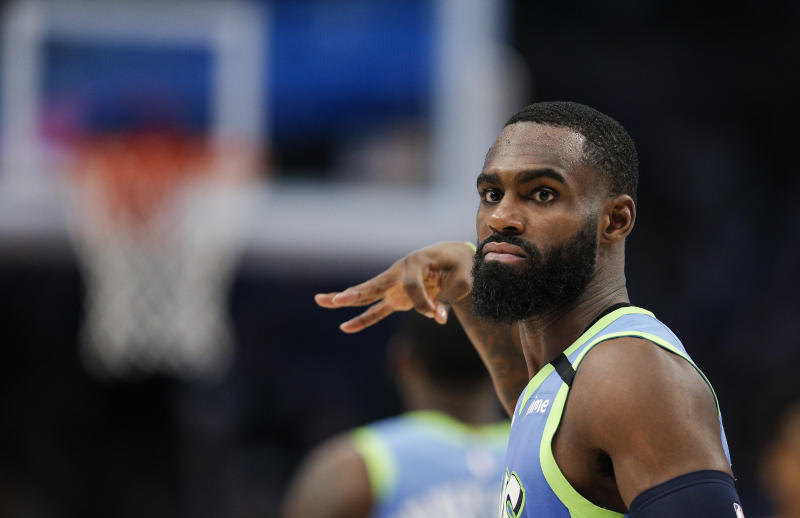 Dallas Mavericks guard Tim Hardaway Jr. celebrates a 3-pointer during the second half of the team's NBA basketball game against the Portland Trail Blazers, Friday, Jan. 17, 2020, in Dallas. The Mavericks won 120-112. (AP Photo/Brandon Wade)