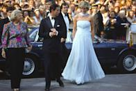 <p>Diana wore this memorable number to a gala during the Cannes Film Festival. The pale blue flowing chiffon dress was designed by Catherine Walker, one of Diana's favorite designers. </p>
