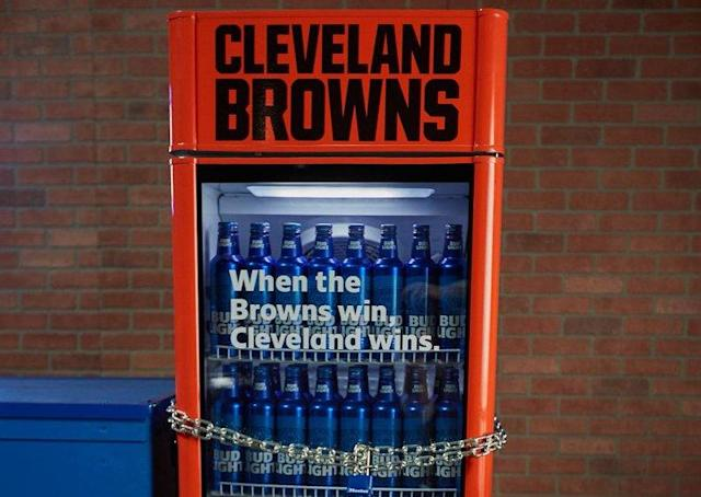 Bud Light is installing beer-filled victory fridges around Cleveland, and they'll open the moment the Browns win a game. (Twitter/@Browns)