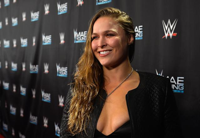 A Tuesday dinner with Triple H has people wondering about Ronda Rousey's WWE plans. (Getty)