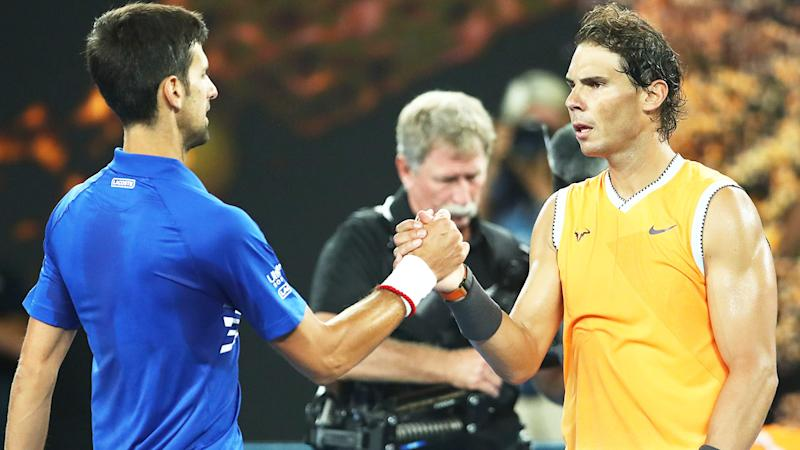 Novak Djokovic (pictured left) shakes hands with Rafa Nadal (pictured right) after the Australian Open final.