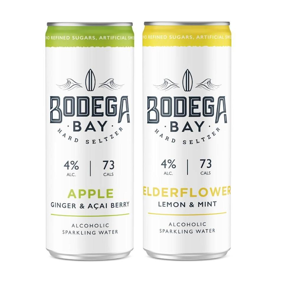 <p>Available in two flavours  - Elderflower with Lemon & Mint and Apple with Ginger & Açai Berry - Bodega Bay's hard seltzers promise to be as refreshing as they are delicious. They're also low calories, low in sugar, vegan and gluten-free.<br></p>