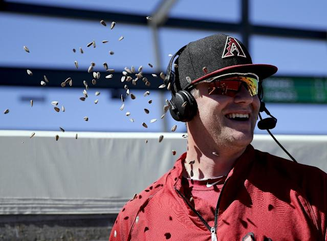 Arizona Diamondbacks starting pitcher Archie Bradley laughs after a teammate throws sunflower seed at him during an interview at a spring training baseball game against the San Diego Padres in Scottsdale, Ariz., Sunday, March 9, 2014. (AP Photo/Chris Carlson)