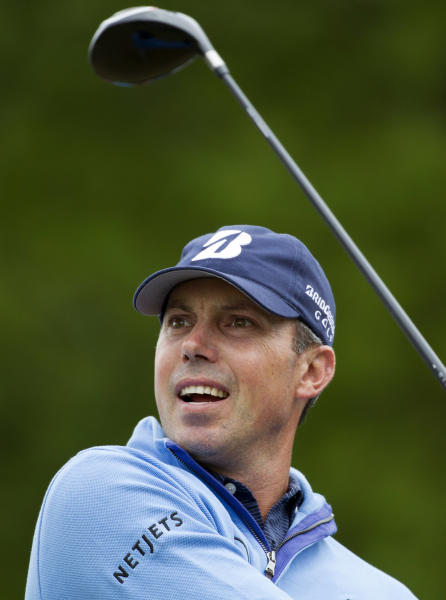 Matt Kuchar hits off the tee on the 10th hole during the third round of the Houston Open golf tournament, Saturday, April 5, 2014, in Humble, Texas. (AP Photo/Patric Schneider)