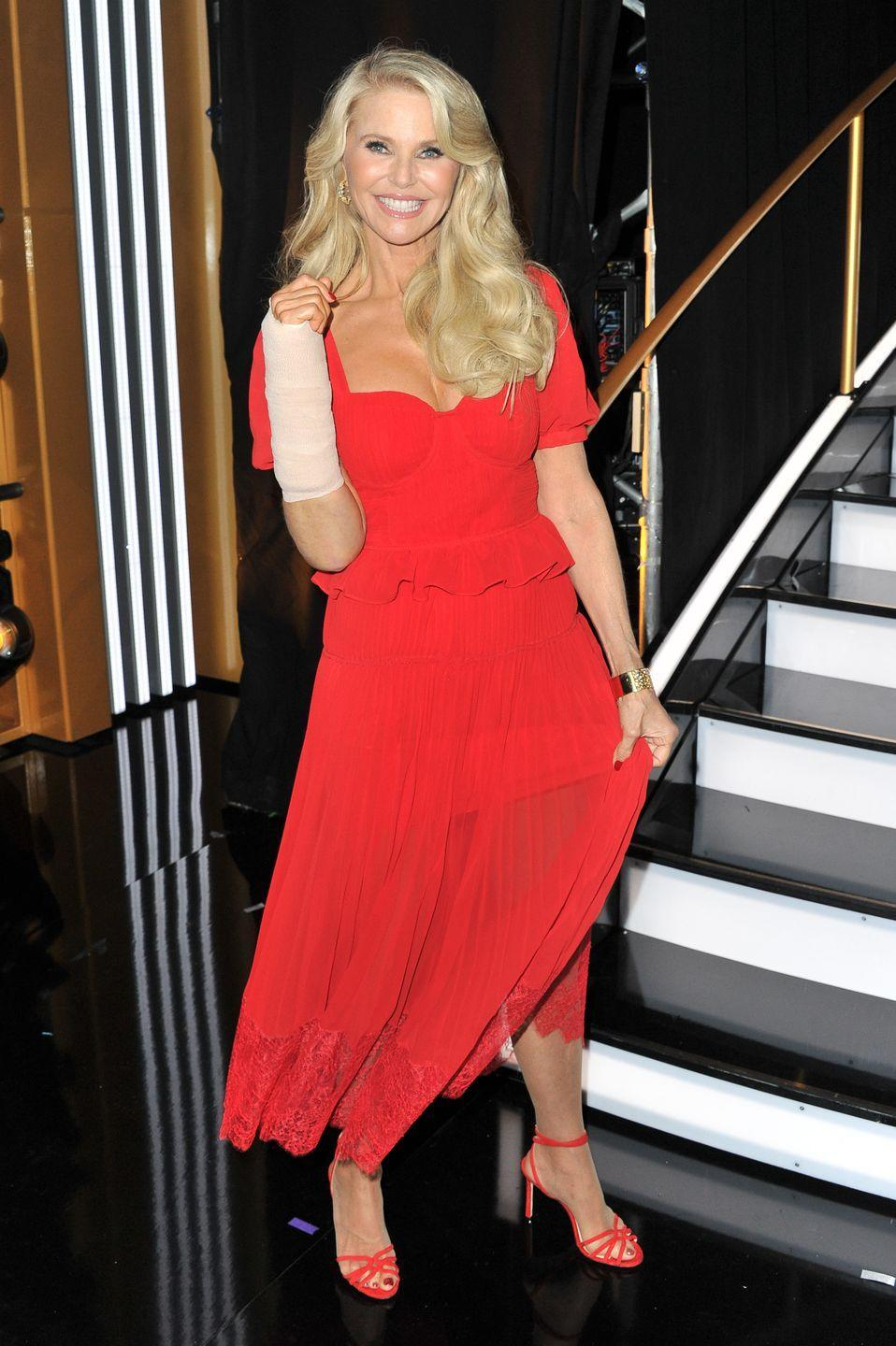 "<p>The <a href=""https://www.womenshealthmag.com/health/a29269663/christie-brinkley-dwts-arm-injury-photos/"" rel=""nofollow noopener"" target=""_blank"" data-ylk=""slk:supermodel fell and broke her arm during rehearsals"" class=""link rapid-noclick-resp"">supermodel fell and broke her arm during rehearsals</a> the week before the premiere of <em>DWTS</em> season 28. The fall reportedly left her with multiple broken bones, a dislocated wrist, and required surgery to insert a metal plate in her arm. Unable to compete, Christie sat in the audience and her daughter Sailor Brinkley-Cook took her place on the dance floor.</p>"