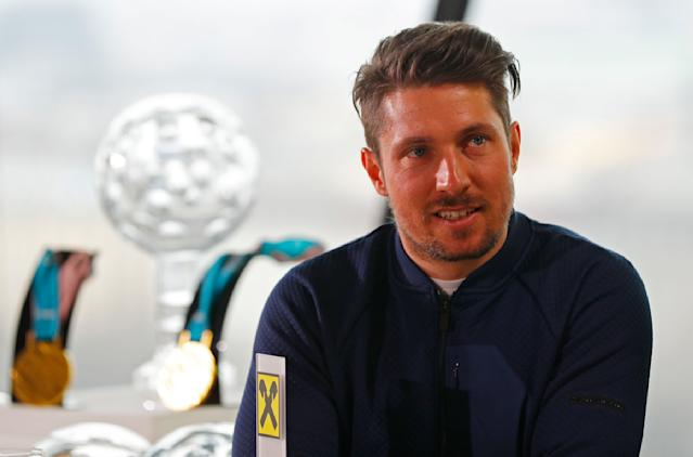 REFILE - CORRECTING NAME SPELLING - Austrian overall ski World Cup champion Marcel Hirscher attends a news conference in Vienna, Austria, March 21, 2018. REUTERS/Leonhard Foeger