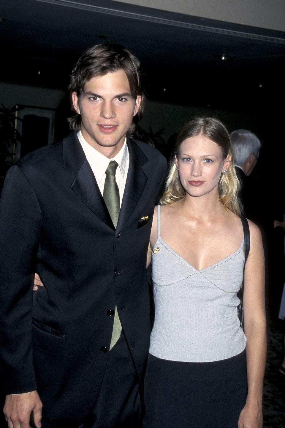 """<p>Back in 2009, the <em>Mad Men </em>actress revealed in <a href=""""http://www.eonline.com/news/798880/january-jones-has-a-message-for-ex-boyfriend-ashton-kutcher"""" rel=""""nofollow noopener"""" target=""""_blank"""" data-ylk=""""slk:an interview with GQ"""" class=""""link rapid-noclick-resp"""">an interview with <em>GQ</em></a> that her first boyfriend was Ashton Kutcher. However, the relationship didn't work out because he couldn't get behind Jones' career choice. </p><p>""""[He] was not supportive of my acting,"""" Jones told <em>GQ.</em> """"He was like, I don't think you're going to be good at this. So—fuck you! He only has nice things to say now—if anything, I should thank him, because the minute you tell me I can't do something, that's when I'm most motivated.""""<br></p>"""