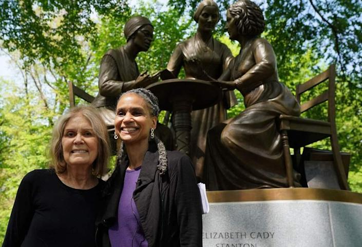 """Democratic New York mayoral candidate Maya Wiley kicks off """"Women for Maya"""" with activist and author Gloria Steinem, left, at the Women's Rights Pioneers Monument in Central Park in New York on May 7, 2021."""