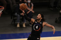 New York Knicks guard Derrick Rose drives to the basket during the second half of an NBA basketball game against the New Orleans Pelicans on Sunday, April 18, 2021, in New York. (AP Photo/Adam Hunger, Pool)