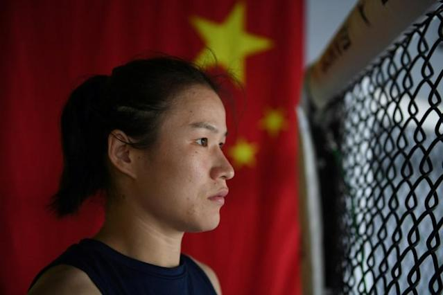 """If I succeed I can inspire more women to think that they can also do this sport and be successful,"" says China's MMA star Zhang Weili (AFP Photo/GREG BAKER)"