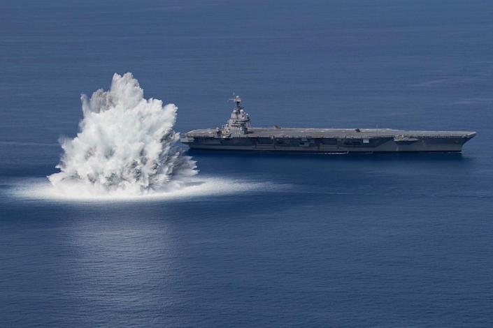 Navy aircraft carrier Gerald Ford during shock trials
