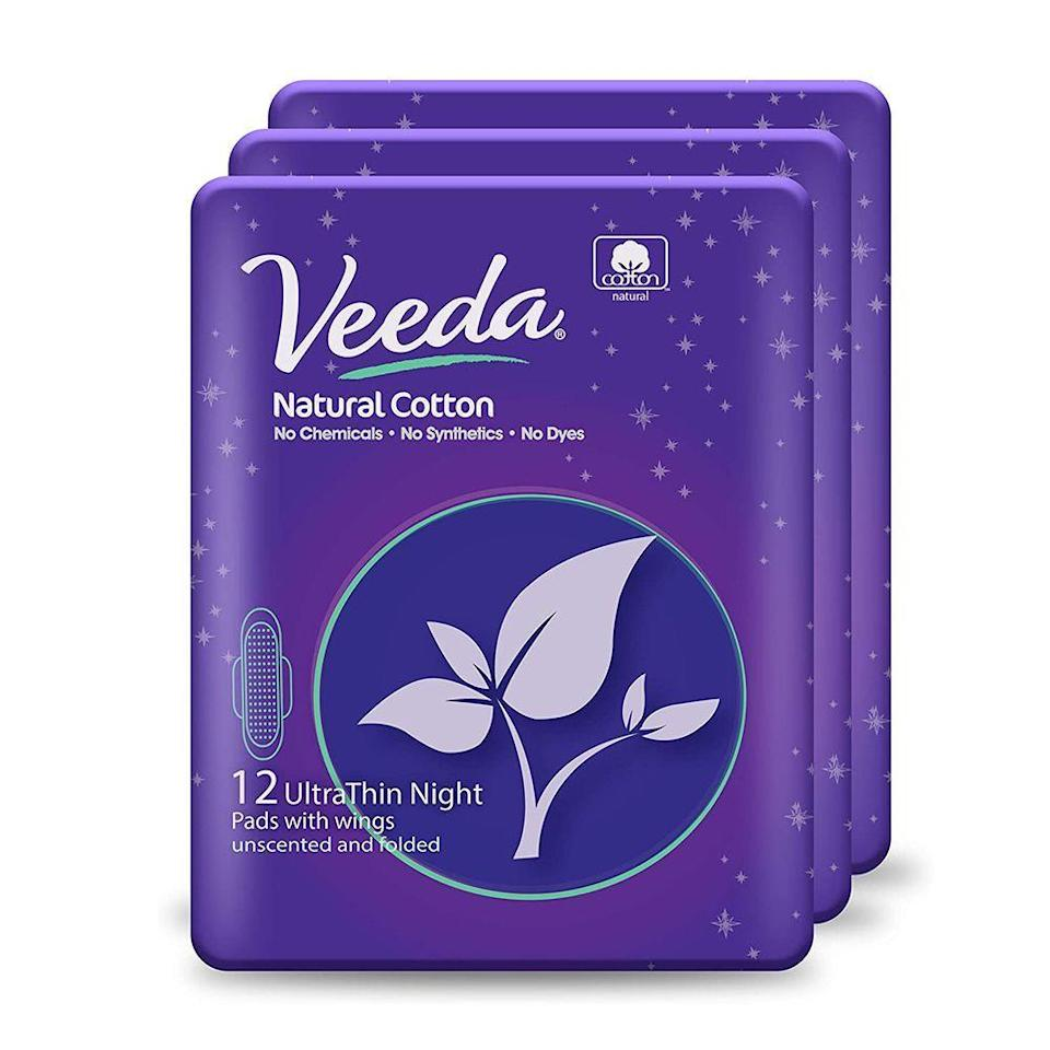"""<p><strong>Veeda</strong></p><p>amazon.com</p><p><strong>$11.55</strong></p><p><a href=""""https://www.amazon.com/dp/B01IUBG34W?tag=syn-yahoo-20&ascsubtag=%5Bartid%7C2089.g.35106196%5Bsrc%7Cyahoo-us"""" rel=""""nofollow noopener"""" target=""""_blank"""" data-ylk=""""slk:Shop Now"""" class=""""link rapid-noclick-resp"""">Shop Now</a></p><p>These super absorbent organic pads from Veeda work hard during the night shift to provide reliable, no-leak coverage. Their cotton top sheet is free of chemicals and dyes, ensuring that your skin is getting the best quality protection. </p>"""
