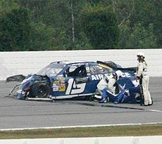 Elliott Sadler was fortunate to walk away from a vicious wreck at Pocono