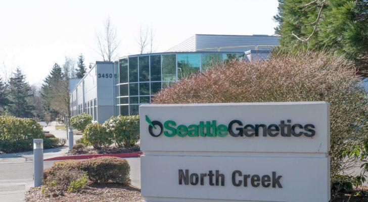 a Seattle Genetics logo (SGNE) on a sign outside of a corporate building