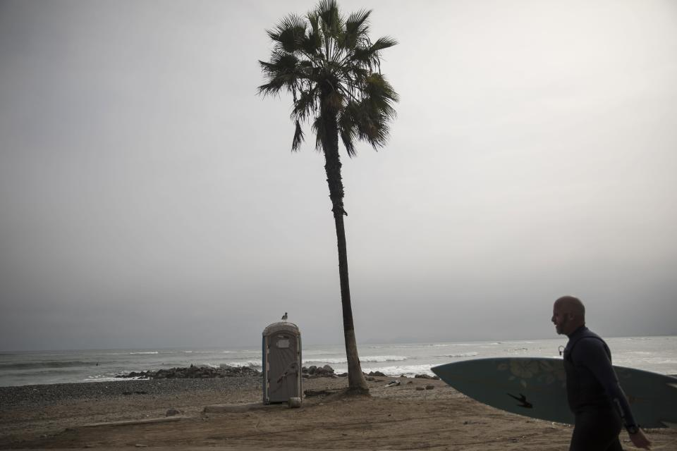 A bird perches on a public bathroom while a surfer walks toward the Pacific Ocean on the coast of Lima, Peru, Friday, June 26, 2020. The emblematic surfers who dot Peru's coastline are retaking to the waves as the hard-hit nation relaxes coronavirus-related restrictions on outdoor sports. (AP Photo/Rodrigo Abd)