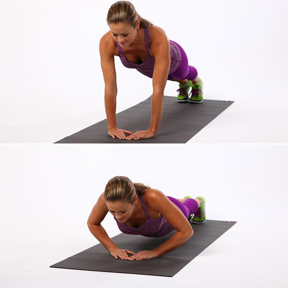<ul> <li>Start in plank position with your hands under your shoulders and your body in one straight line.</li> <li>If your knees aren't on the floor, separate your feet so they're about shoulder-width apart to help you stay balanced throughout the exercise.</li> <li>Place your hands together, directly under your sternum, with the tips of your index fingers and thumbs touching. Your fingers and thumbs should form a diamond or triangle shape.</li> <li>Bend your elbows out to the sides, and lower your chest toward the floor. Then exhale to straighten your arms. This counts as one rep.</li> </ul>