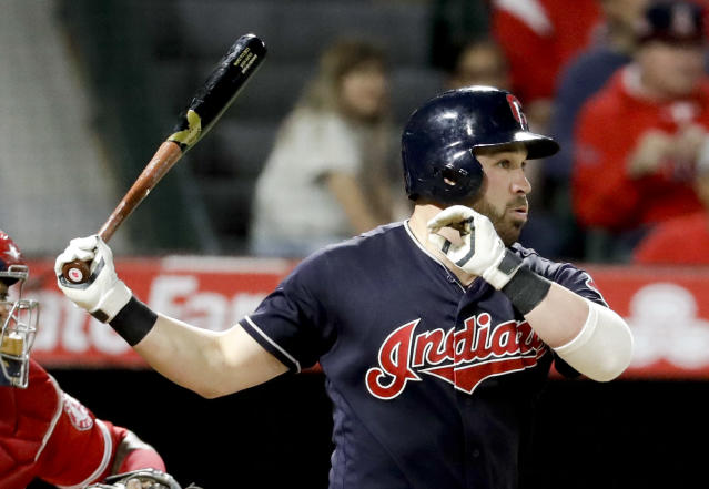 Cleveland Indians' Jason Kipnis watches his RBI double against the Los Angeles Angels during the second inning of a baseball game in Anaheim, Calif., Wednesday, Sept. 20, 2017. (AP Photo/Chris Carlson)