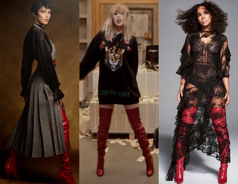 Here's how to copy the red thigh-high boot trend everyone from Taylor Swift to Bella Hadid is wearing