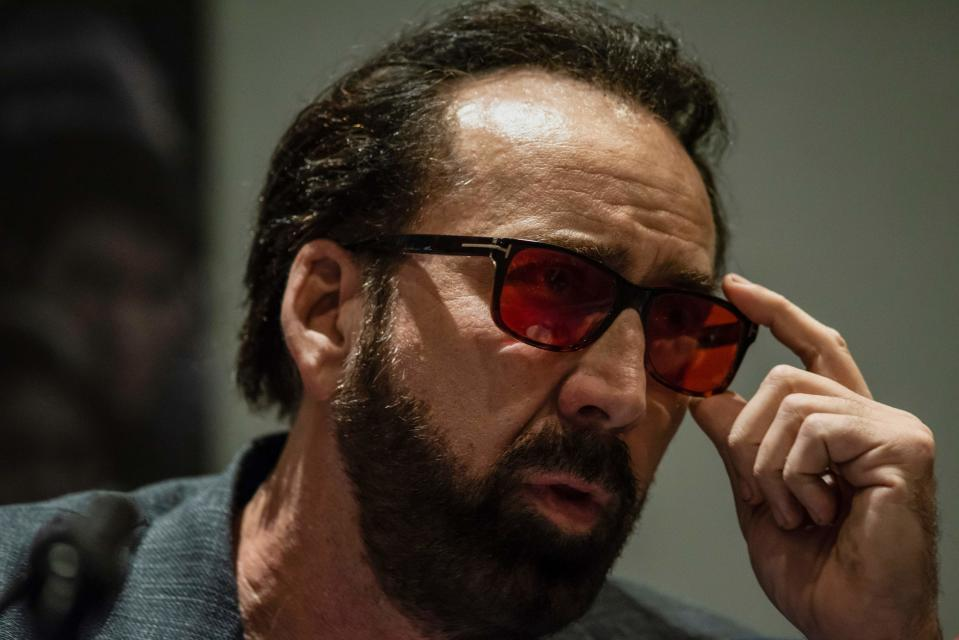 """US actor Nicolas Cage speaks during a press conference for his new movie """"Jiu Jitsu"""" in the Cypriot capital Nicosia on June 29, 2019. - The movie is currently being filmed in Cyprus. (Photo by Iakovos Hatzistavrou / AFP)        (Photo credit should read IAKOVOS HATZISTAVROU/AFP/Getty Images)"""