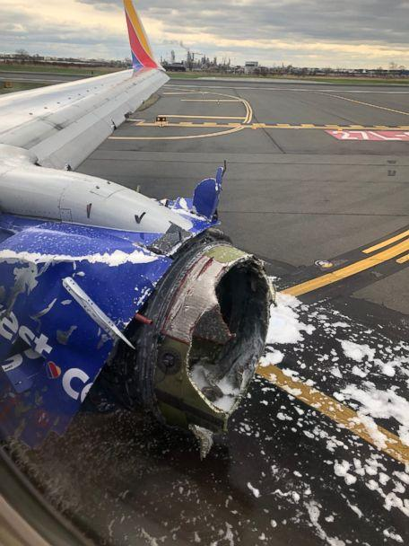 PHOTO: The engine of a Southwest Airlines plane after an emergency landing at the Philadelphia airport, April 17, 2018.  (Joe Marcus/Twitter)
