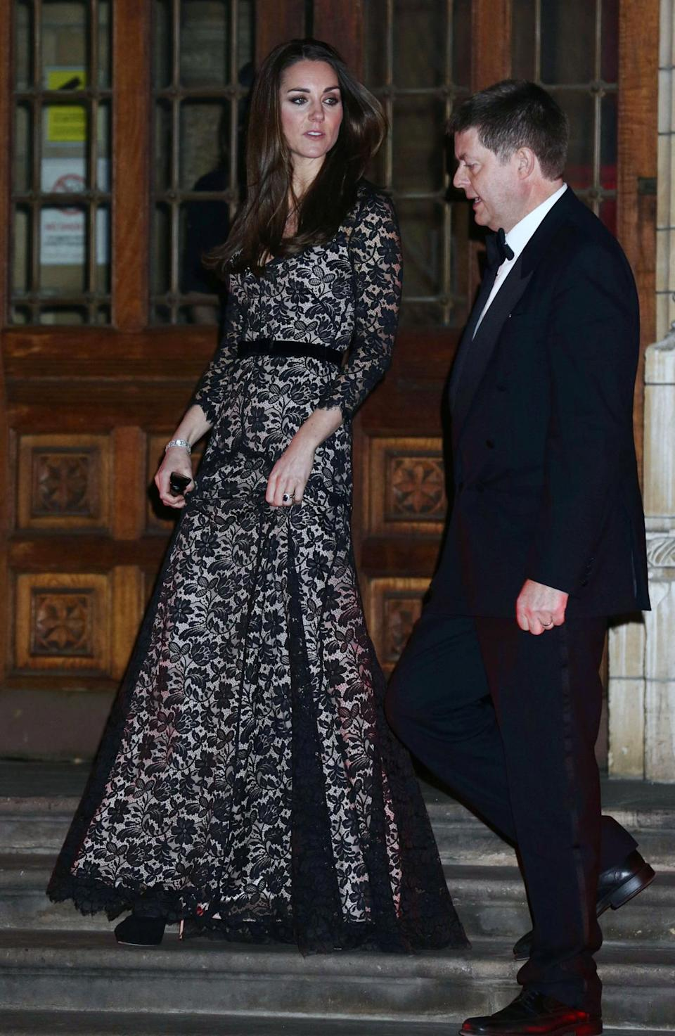 <p>For a screening of a David Attenborough film, the Duchess chose a black lace gown by Temperley London and Jimmy Choo platform pumps. <br></p><p><i>[Photo: PA]</i></p>
