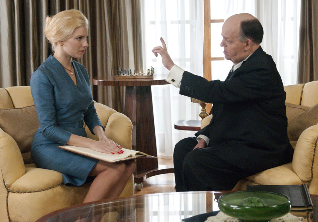 "Sienna Miller as Tippi Hedren and Toby Jones as Alfred Hitchcock in ""The Girl"" on HBO."